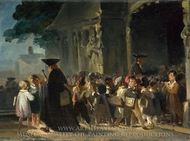 Children at a Church Door painting reproduction, Nicolas-Toussaint Charlet