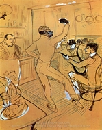 Chocolat Dancing in the Irish and American Bar painting reproduction, Henri De Toulouse-Lautrec
