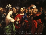 Christ and the Woman Taken in Adultery painting reproduction, Lorenzo Lotto