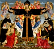Christ on the Cross with Saints Vincent Ferrer, John the Baptist, Mark and Antoninus painting reproduction, Master Fiesole Epiphany