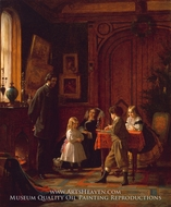 Christmas-Time, the Blodgett Family painting reproduction, Eastman Johnson