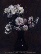 Chrysanthemums painting reproduction, Henri Fantin-Latour