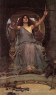 Circe Offering the Cup to Odysseus painting reproduction, John William Waterhouse