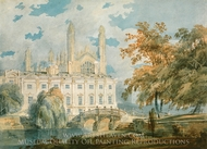 Clare Hall and King�s College Chapel, Cambridge, from the Banks of the River Cam painting reproduction, Joseph Mallord William Turner