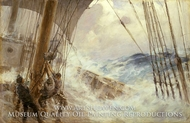 Clewing Up the Mainsail in Heavy Weather painting reproduction, Arthur John Trevor Briscoe