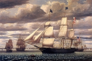 Clipper Ship Southern Cross Leaving Boston Harbor painting reproduction, Fitz Hugh Lane