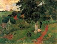 Coming and Going, Martinique painting reproduction, Paul Gauguin