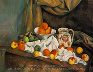 Compotier, Pitcher, and Fruit (Nature morte) painting reproduction, Paul Cezanne