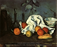 Containers, Fruit, Dishcloth painting reproduction, Paul Cezanne