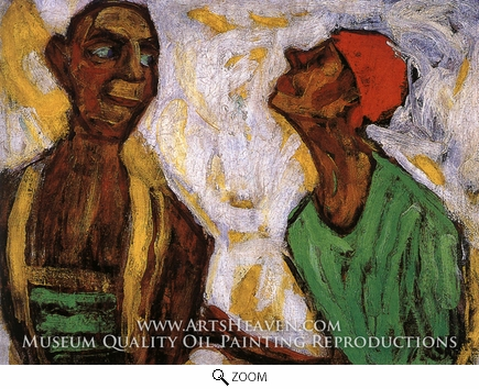Painting Reproduction of Conversation between Two Clowns, Paula Modersohn-Becker
