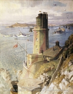 Convoy Arriving off St. Anthony's Lighthouse, Falmouth painting reproduction, John Platt