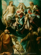 Coronation of the Virgin with Saints Joseph and Francis of Assisi painting reproduction, Giulio Cesare Procaccini