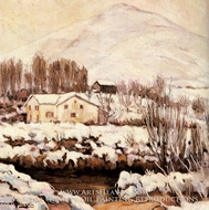 Cottages in a Snowy Landscape by Alexander Altman