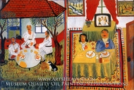 Country Folk at Table Yesterday and Today painting reproduction, Gheorghe Mitrachita