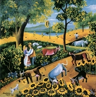 Country Landscape with Cows and Sunflowers painting reproduction, Camelia Ciobanu
