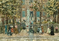Court Yard, West End Library, Boston by Maurice Prendergast
