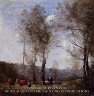 Cowherd in a Clearing near a Pond by Jean-Baptiste Camille Corot