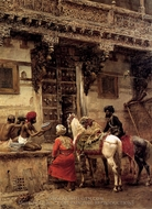 Craftsman Selling Cases by a Teak Wood Building in Ahmedabad painting reproduction, Edwin Lord Weeks