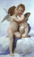 Cupid and Psyche as Children (L'Amour et Psyche, enfants) painting reproduction, William Adolphe Bouguereau
