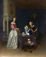 Curiosity painting reproduction, Gerard Ter Borch