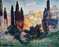 Cypress Trees at Cagnes painting reproduction, Henri Edmond Cross