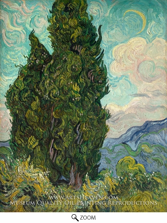 Painting Reproduction of Cypresses, Vincent Van Gogh