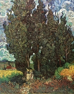 Cypresses with Two Women painting reproduction, Vincent Van Gogh