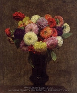 Dahlias painting reproduction, Henri Fantin-Latour