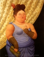 Dama de Sociedad painting reproduction, Fernando Botero
