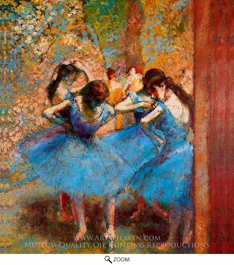 Edgar Degas, Dancers in Blue oil painting reproduction