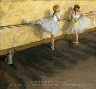 Dancers Practicing at the Barre painting reproduction, Edgar Degas