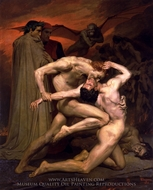 Dante and Virgil in Hell painting reproduction, William Adolphe Bouguereau