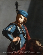 David with the Head of Goliath painting reproduction, Guido Cagnaci