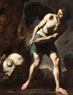 David with the Head of Goliath painting reproduction, Andrea Vaccaro