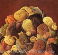 Dead Bishops painting reproduction, Fernando Botero
