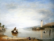 Dead Calm: Boats off Cowes Castle painting reproduction, Sir Augustus Wall Callcott