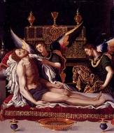 Dead Christ Attended by Two Angels painting reproduction, Alessandro Allori