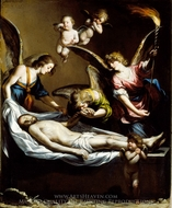 Dead Christ with Lamenting Angels painting reproduction, Antonio Del Castillo Y Saavedra