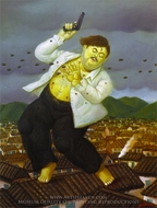 Death of Pablo Escobar painting reproduction, Fernando Botero