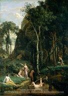 Diana and Actaeon (Diana Surprised in Her Bath) painting reproduction, Jean-Baptiste Camille Corot
