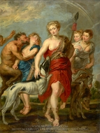 Diana and Her Nymphs on the Hunt painting reproduction, Peter Paul Rubens