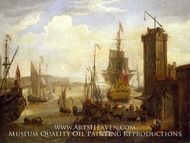 Dock Scene at a British Port painting reproduction, Jacob Knyff