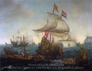 Dutch Ships Ramming Spanish Galleys off the Flemish Coast painting reproduction, Hendrick Cornelisz Vroom