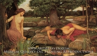 Echo and Narcissus painting reproduction, John William Waterhouse