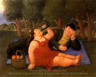El Picnic painting reproduction, Fernando Botero