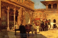 Elephants and Figures in a Courtyard, Fort Agra painting reproduction, Edwin Lord Weeks