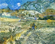 Enclosed Field with Peasant painting reproduction, Vincent Van Gogh