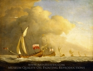 English Royal Yachts at Sea, in a Strong Wind in Company with a Ship Flying the Royal Standard painting reproduction, Willem Van De Velde, The Younger