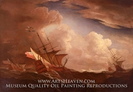 English Ships at Sea Beating to Windward in a Gale painting reproduction, Willem Van De Velde, The Younger