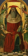 Enthroned Saint Jerome, with Angels painting reproduction, Nicolo Corso